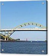Hoan Bridge Boats Light House 4 Acrylic Print