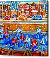 Hockey Art Collectible Cards And Prints Snowy Day  Neighborhood Rinks Verdun Montreal Art C Spandau Acrylic Print