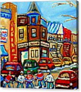 Hockey Art Montreal Winter Street Scene Painting Chez Vito Boucherie And Fairmount Bagel Acrylic Print