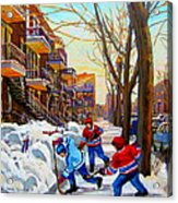 Hockey Art - Paintings Of Verdun- Montreal Street Scenes In Winter Acrylic Print