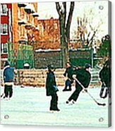 Hockey Art Shimmy Game Local Rink Montreal Paintings Winter Street Scene Verdun Art Carole Spandau Acrylic Print