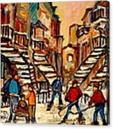 Hockey Game Near Winding Staircases Montreal Streetscene Acrylic Print by Carole Spandau