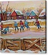 Hockey Game-outdoor Hockey -beautiful Canadian Winter Landscape-hockey Heroes-carole Spandau Acrylic Print