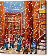 Hockey In The Laneway On Snowy Day Paintings Of Montreal Streets In Winter Carole Spandau Acrylic Print