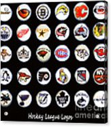 Hockey League Logos Bottle Caps Acrylic Print