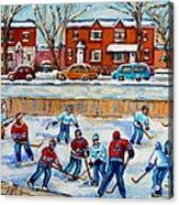 Hockey Rink At Van Horne Montreal Acrylic Print