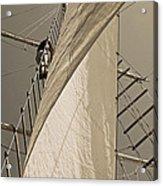 Hoisting The Mainsail In Sepia Acrylic Print