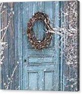 Barn Door And Holiday Wreath/digital Painting Acrylic Print