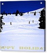 Holiday Skiers At Mt Hood  Oregon Acrylic Print by Glenna McRae