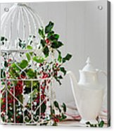 Holly And Berries Birdcage Acrylic Print