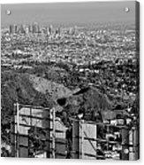 Hollywood And Los Angeles City Skyline Acrylic Print