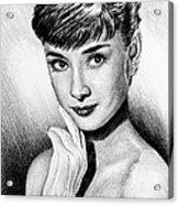 Hollywood Greats Hepburn Acrylic Print by Andrew Read