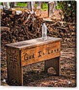 Holt Cemetery - God Is Love Bench Acrylic Print