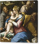 Holy Family With Saint Francis In A Landscape Acrylic Print