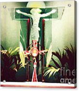 Adoration With Red Candles - Digital Painting Acrylic Print