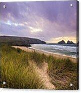 Holywell Bay Spectacular Sunset Acrylic Print