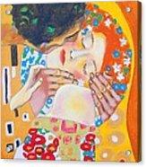 Homage To Master Klimt The Kiss Acrylic Print