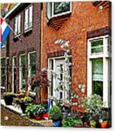 Homes Along The Canal In Enkhuizen-netherlands Acrylic Print