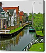 Homes Near The Dike In Enkhuizen-netherlands Acrylic Print