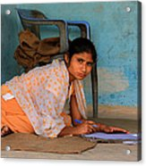 Homework Without A Desk Acrylic Print by Amanda Stadther