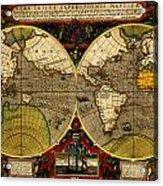 Hondius Map Of The World 1595 Acrylic Print