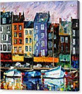 Honfleur-normandie - Palette Knife Oil Painting On Canvas By Leonid Afremov Acrylic Print