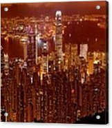 Hong Kong In Golden Brown Acrylic Print