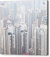 Hong Kong City In The Mist Acrylic Print