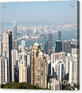 Hong Kong Harbor From Victoria Peak In A Sunny Day Acrylic Print by Matteo Colombo