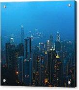 Hong Kong In Foggy Night Acrylic Print