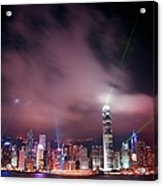 Hong Kong Laser Lights Acrylic Print