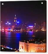 Hong Kong Skyline Acrylic Print by Pixel  Chimp