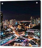 Honolulu Night Panorama Acrylic Print