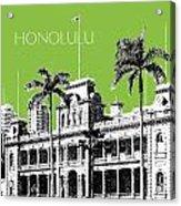 Honolulu Skyline Iolani Palace - Olive Acrylic Print