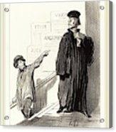 Honoré Daumier French, 1808-1879, Un Plaideur Peu Satisfait Acrylic Print