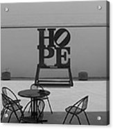 Hope And Chairs In Black And White Acrylic Print