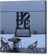 Hope And Chairs In Cyan Acrylic Print