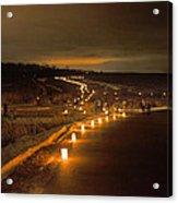 Horicon Marsh Candlelight Snow Shoe/hike Acrylic Print