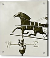Horse And Buggy Weathervane In Sepia Acrylic Print by Ben and Raisa Gertsberg
