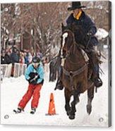 Horse And Skier Slalom Race Acrylic Print