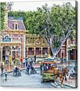 Horse And Trolley Turning Main Street Disneyland 01 Acrylic Print