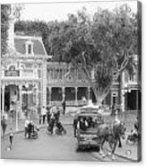 Horse And Trolley Turning Main Street Disneyland Bw Acrylic Print