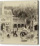 Horse And Trolley Turning Main Street Disneyland Heirloom Acrylic Print