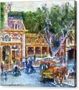 Horse And Trolley Turning Main Street Disneyland Photo Art 02 Acrylic Print