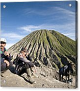 Horse Drivers Near A Volcano At Bromo Java Indonesia Acrylic Print