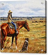 Horse Painting - Waiting For Dad Acrylic Print by Crista Forest