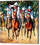 Horse Race - Palette Knife Oil Painting On Canvas By Leonid Afremov Acrylic Print