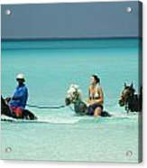Horse Riders In The Surf Acrylic Print