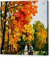Horseback Stroll - Palette Knife Oil Painting On Canvas By Leonid Afremov Acrylic Print