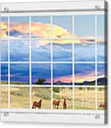 Horses On The Storm Large White Picture Window Frame View Acrylic Print